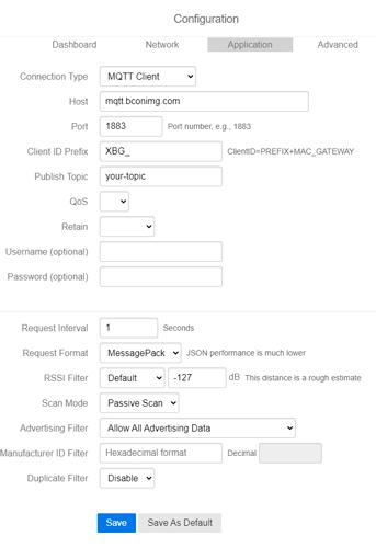 configuration page