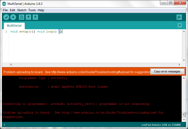 Blueduino r programmer is not responding after at sblup